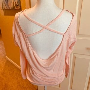 Apana Yoga LS pink open back shirt SZ Med